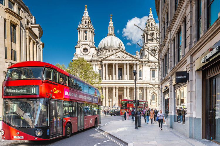 Double-decker Bus Building Exterior Architecture Built Structure City Transportation Mode Of Transportation Building Travel Destinations Street City Street Incidental People Travel City Life Sky Bus Outdoors Public Transportation Day London Doubledecker St. Paul Cathedral City Of London