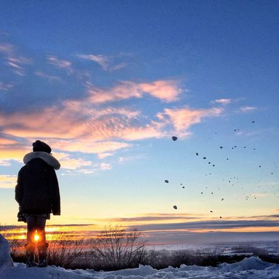 sunset snowballs Sunset Real People Silhouette Cloud - Sky One Person Scenics Outdoors The Week Of Eyeem Frozen Silhouette Sunset Silhouettes Snow ❄ Sunset_collection