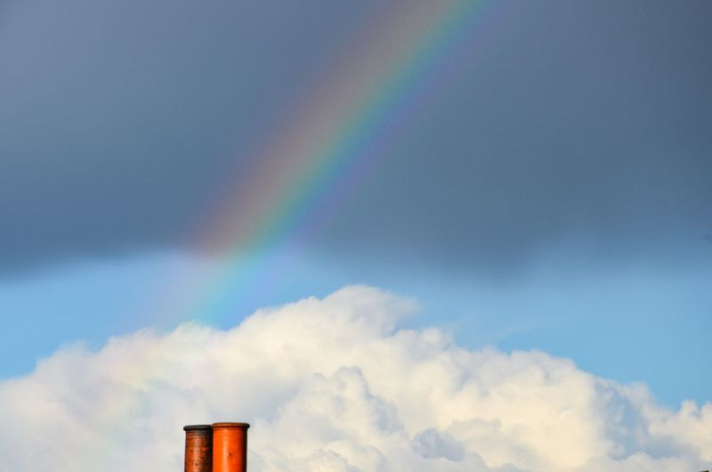 Dream On Multicolored Somewhere Over The Rainbow At The End Of The Rainbow Dream Dream On Hope Clouds Chimney Low Angle View Sky Multi Colored Rainbow Cloud - Sky No People Built Structure Outdoors Day