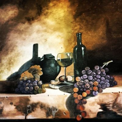 Grapes and wine Mural Italiannis