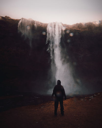 Embrace the drips Real People Men Scenics - Nature Beauty In Nature Standing Rear View One Person Land Nature Sky Water Waterfall Leisure Activity Lifestyles Power In Nature Non-urban Scene Holiday Travel Flowing Water Outdoors Looking At View Iceland Iceland Trip Moody Drips
