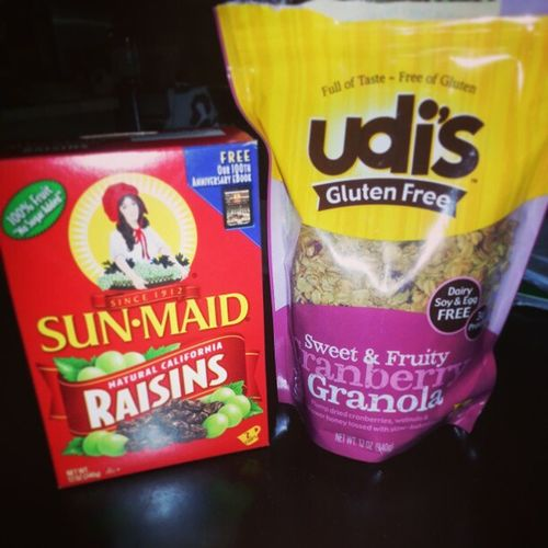 New favorite snacks. Well the granola with cranberry is. Childhoodfavorite Raisins Glutenfree Granolaandcranberry udis