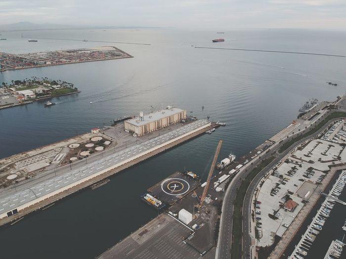 High angle view of harbor