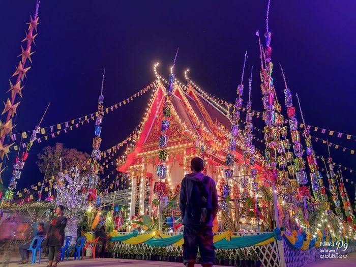 วัดเขาดินไพรวัน P9 Oo สุโขทัย Leica Huawei_P9 ๐๐LikhiT๐๐ Multi Colored Celebration Night Outdoors Traditional Festival Holiday - Event Sky Tree One Man Only Adults Only Long Exposure Motion Full Length Christmas Lights Standing People Illuminated Only Men Clear Sky Adult