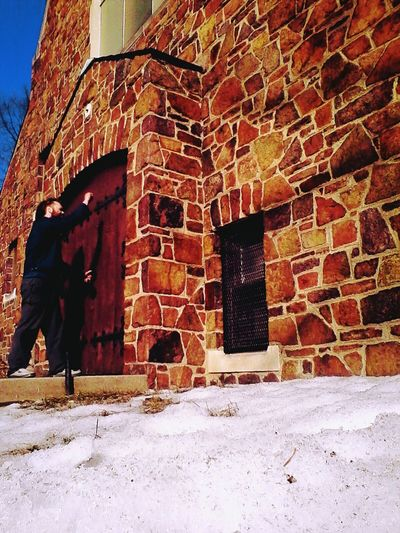 Timer Selfie. Abandoned Architecture Backgrounds Bad Condition Brick Wall Building Exterior Built Structure Day Deterioration Full Frame Graveyard Beauty Knocking On A Heaven's Door Minnesota No People Obsolete Old Outdoors Pattern Ruined Selfie Stone Wall Textured  Thats Me  Wall Wall - Building Feature