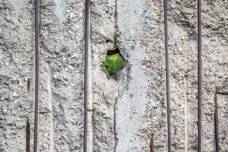 Full frame shot of historic berlin wall with hole