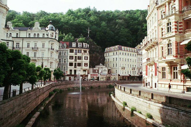 Buildings along the canal in karlovy vary