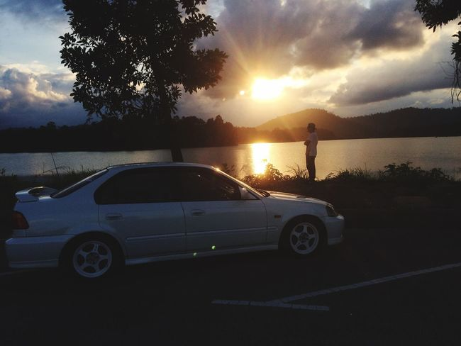 Honda Civic B18c Car Transportation Sunset Sky Cloud - Sky Outdoors Nature Sunlight Sun Leisure Activity Silhouette Land Vehicle Tree Standing Scenics Vacations Real People Water Day One Person