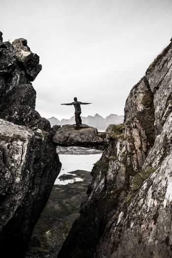 Achievement Alone Devils Port Djevelporten Freedom Lofoten Mountain Norway Outdoors People Rock - Object Rock Climbing Svolvær View First Eyeem Photo Welcome To Black EyeEmNewHere The Great Outdoors - 2017 EyeEm Awards Lost In The Landscape Perspectives On Nature Go Higher