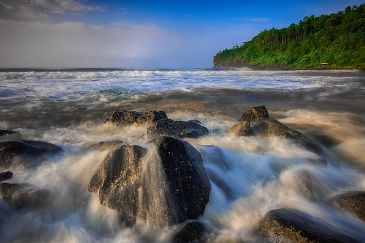 surf Beach INDONESIA Beach Beauty In Nature Central Java Cloud - Sky Flowing Water Horizon Over Water Idyllic Indonesia_photography Land Long Exposure Motion Nature No People Outdoors Power In Nature Rock Rock - Object Scenics - Nature Sea Sky Solid Tranquil Scene Tranquility Water