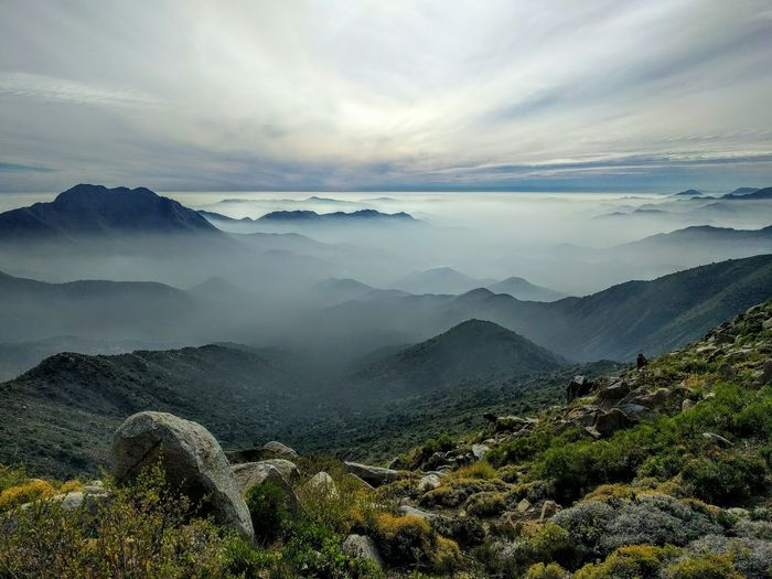 Relaxing Hiking Landscape Enjoying Life Remote Outdoors Tranquility Scenics Beauty In Nature Idyllic Tranquil Scene Mountain Range Nature Chile Trekking Leisure Activity Sky Valley Cerro El Roble Foggy Panoramic The Great Outdoors With Adobe