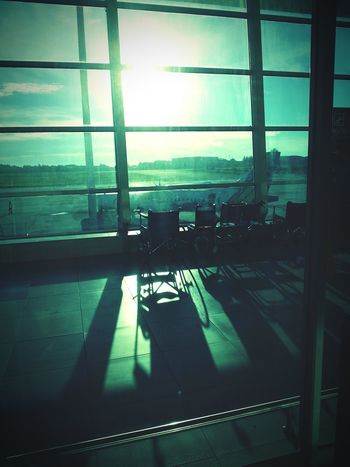 Window Wheelchair Airport Sunlight Day Departure Waiting Hall