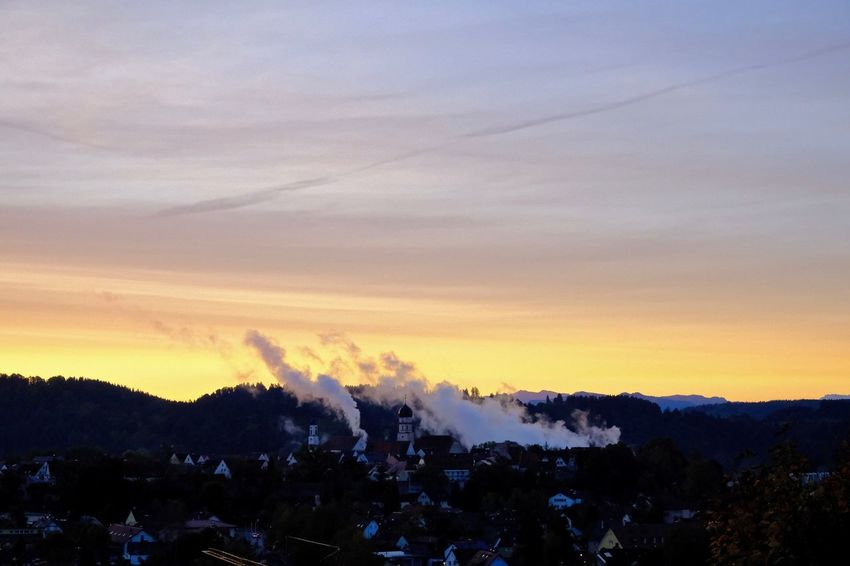 Schongausunrise Sunrise_Collection Architecture Built Structure Factory My Hometown Schongau Silhouette Sky Smoke Stack Sunrise Tranquil Scene