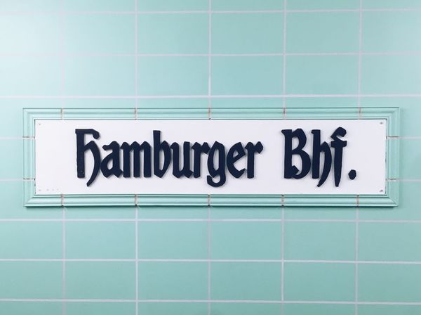 Hamburger Bahnhof Museum in Berlin Hamburger Bahnhof Sign Train Station Train Station Sign Blue Tiles