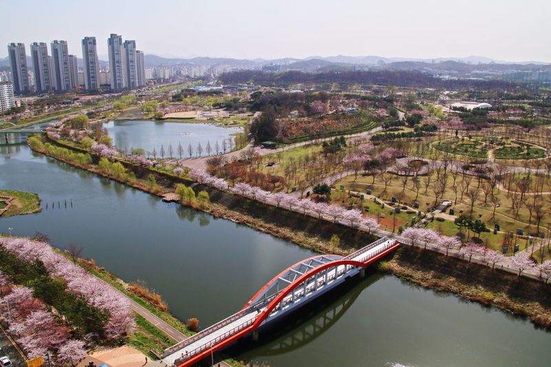 Water High Angle View Built Structure Architecture River Day No People Building Exterior Mountain Outdoors Transportation Nature Beauty In Nature City Sky