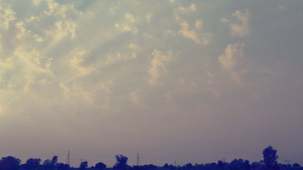sky, cloud - sky, beauty in nature, no people, silhouette, nature, outdoors, tranquility, scenics, day, architecture, city, tree