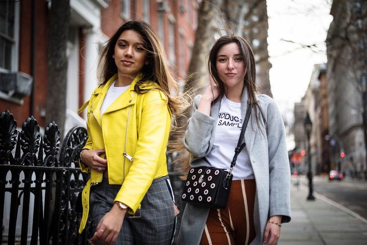 Outdoors Street Casual Clothing Two People City Beauty People Adult Beautiful People Day Looking At Camera Young Adult Portrait Friendship Standing Togetherness Lifestyles Smiling Females Young Women