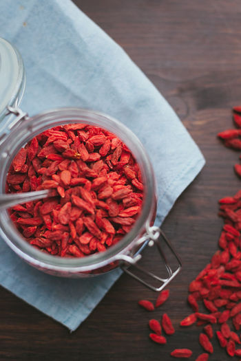 Bowl Close-up Day Directly Above Dried Food Food Food And Drink Freshness Goji Gojiberries Healthy Eating High Angle View Indoors  Ingredient No People Red Still Life Table