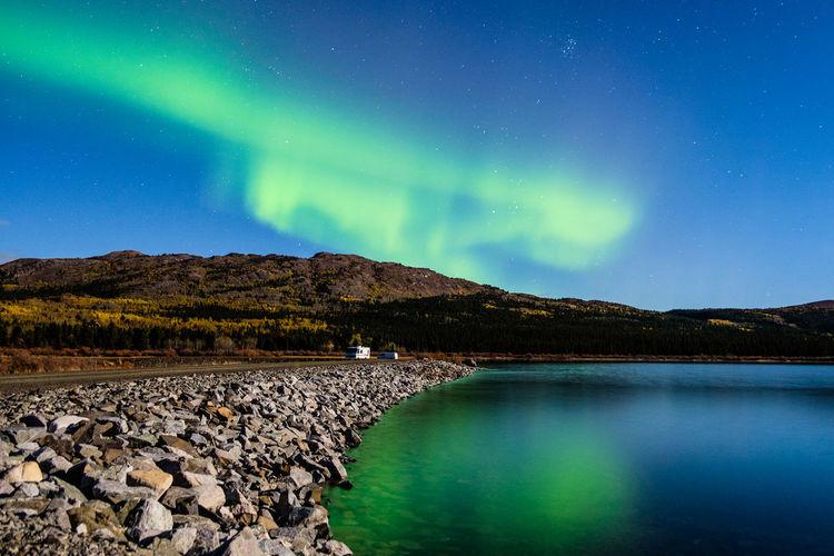 Reflection Of Aurora Polaris In Lake At Night