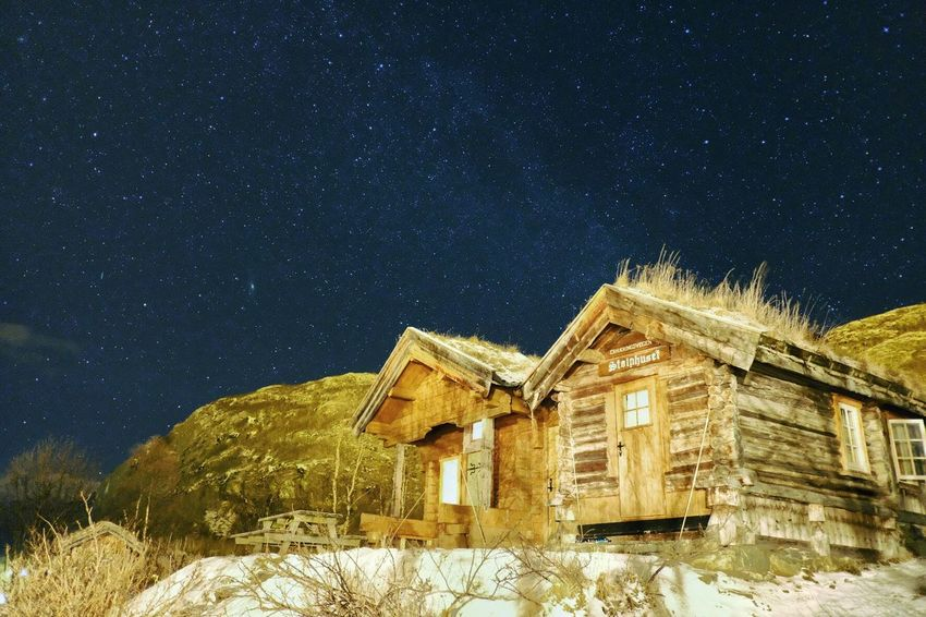 Cabin and stars ✨ Copy Space In Sky Copy Space Architecture Star - Space Built Structure Building Exterior Night Building House Residential District Astronomy Space Snow Scenics - Nature Winter Star Field Galaxy Cold Temperature Star No People Nature Sky