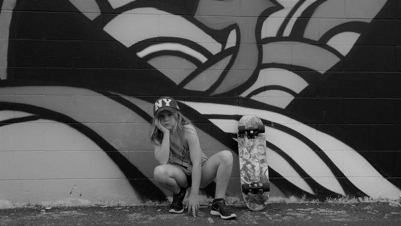 Attitude😎 Blackandwhite Bonding Day EyeEm Best Shots EyeEmNewHere Fresh On Eyeem  Full Length Graffiti Art Lifestyles Outdoors Portrait Skateboarding Skatelife Skater Girl Welcome To Black Young Adult Young Women