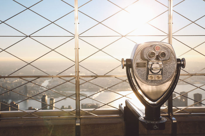Architecture Building Exterior Christmas Cityscape Close-up Coin-operated Binoculars The City Light Empire State Building Focus On Foreground Hand-held Telescope Manhattan Metal Morning Nature New York New York City No People NYC Outdoors Sea Sky Sunrise Technology Telescope Winter