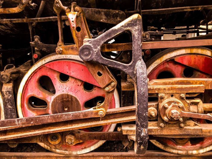 Transportation Train - Vehicle Steam Train Metal Rail Transportation Mode Of Transport Locomotive Wheel No People Railroad Track Machinery Day Outdoors Close-up Gear Industry