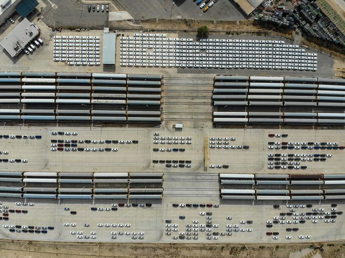Aerial View Of Vehicles In Factory