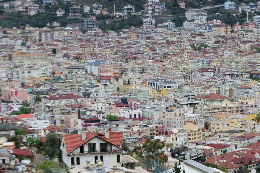 High Angle View Building Exterior Outdoors Architecture No People Day Town Mountain Tree Cityscape Built Structure Residential Building Aerial View City Nature Turkey Alanya Urban Geometry Rofftop Sky
