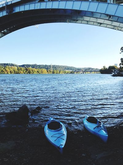 Day Water Outdoors No People Transportation Nature Built Structure Blue Nautical Vessel Architecture Tree Sky Kayak River Allegheny River