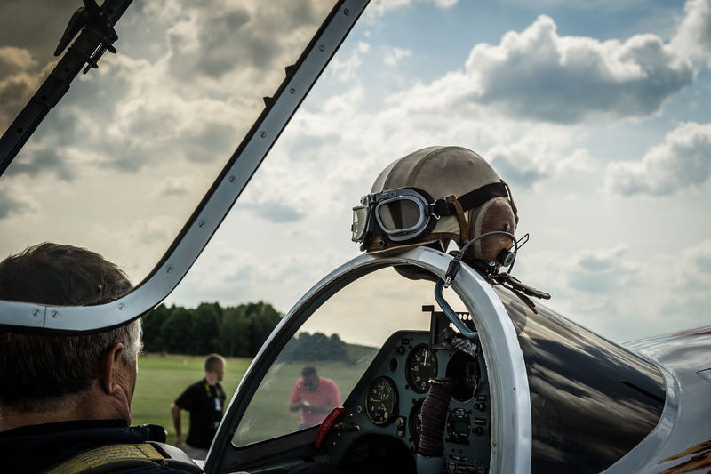 Aeroplane Air Vehicle Aviation Aviationphotography Cloud - Sky Day Headshot Helmet Leisure Activity Lifestyles Mature Men Men Mode Of Transportation Outdoors People Pilot Portrait Real People Sky Two People