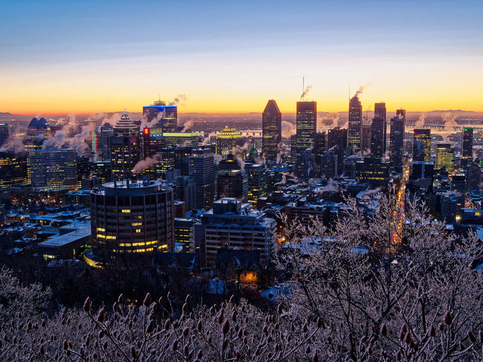 Blue hour/sunrise on a cold morning in Montreal Architecture_collection Blue Hour Downtown Mont Royal Montréal Mount Royal Sunrise_Collection Architecture Building Exterior Built Structure City Life Cityscape Skyscraper Travel Destinations Urban Skyline