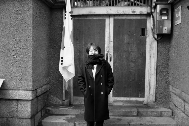 Blackandwhite Korea People Winter Wintertime