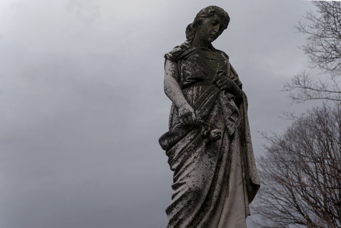 Carving - Craft Product Cemetary Creepy Grave Human Representation Old Sad Sculpture Statue Stone Woman
