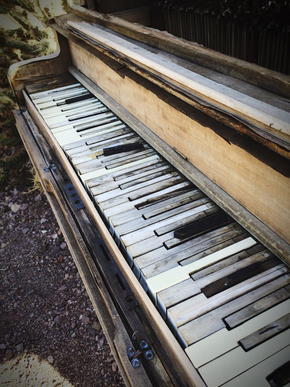 High Angle View Of Abandoned Piano