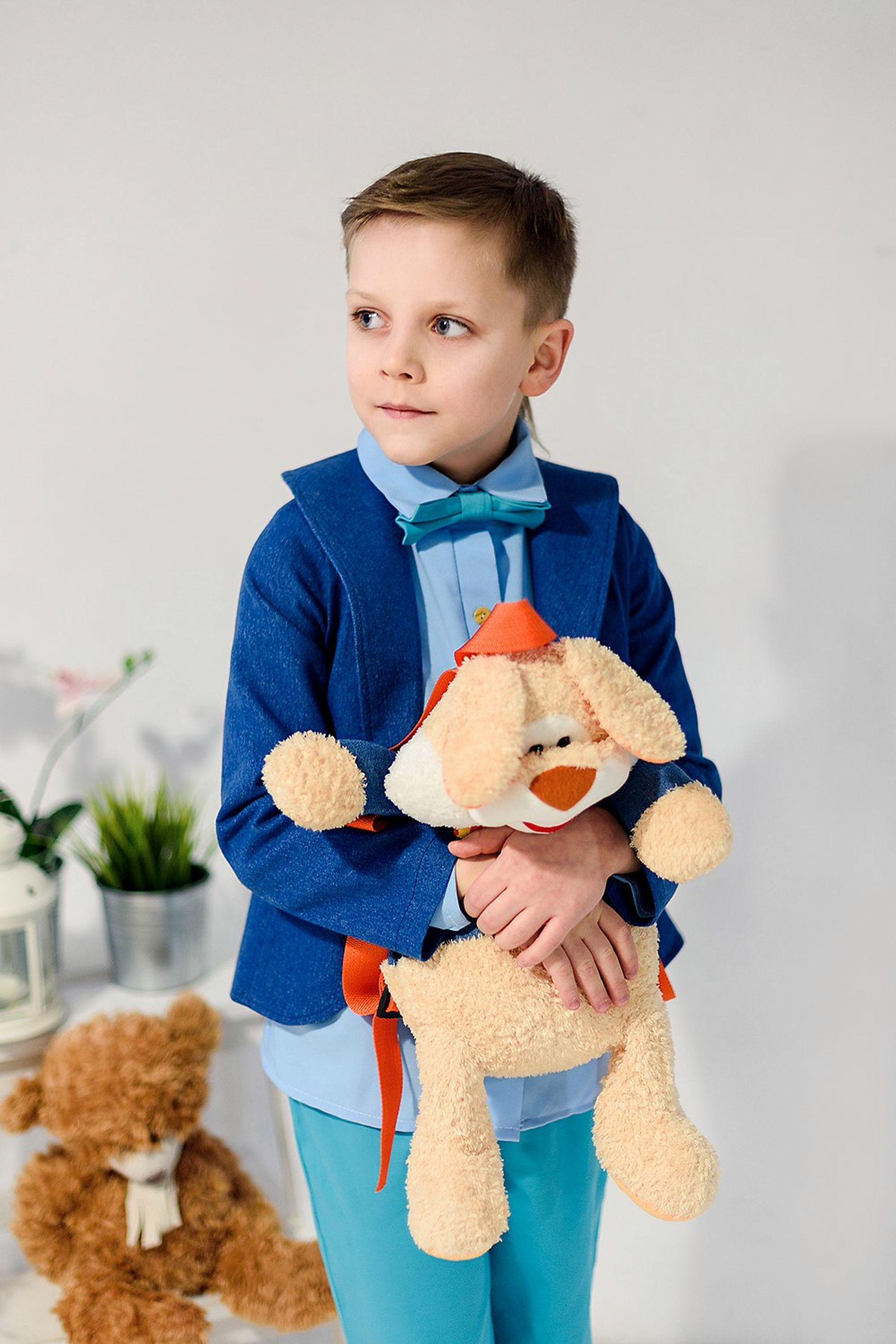 child, childhood, teddy bear, males, front view, portrait, one person, stuffed toy, indoors, one boy only, people