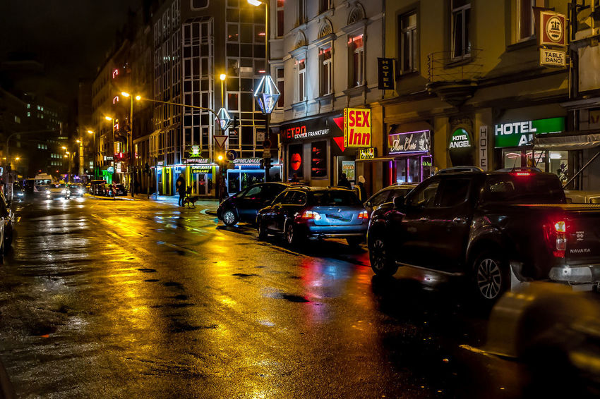 Street at Night Architecture Building Exterior Built Structure Car City Illuminated Land Vehicle Mode Of Transport Night No People Outdoors Redlightdistrict Road Street Transportation Wet