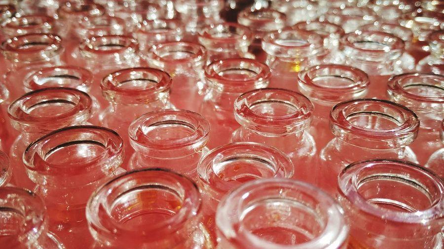 Full frame shot of glasses on table