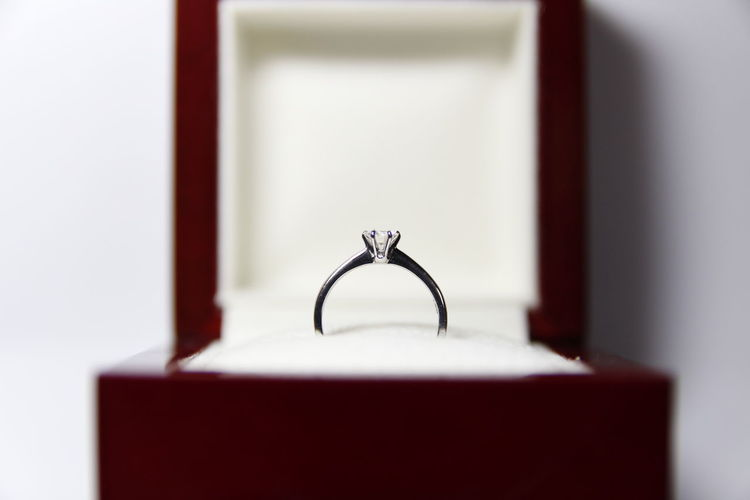 Close-Up Of Diamond Ring In Jewelry Box