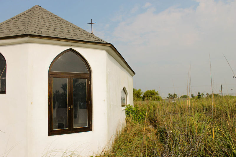 Architecture Beauty In Nature Building Exterior Built Structure Church Chapel On The Dunes Cloud - Sky Day Exterior Grass Growth Nature No People Outdoors Plant Rural Scene Sky Tranquility Eye Em Nature Lover Hidden Gems  Port Aransas Texas