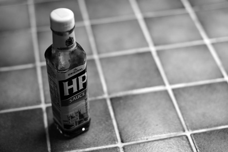 Tile Bottle Label Container HP HP Sauce Brown Sauce Selective Focus Food And Drink Focus On Foreground Food England Sashalmi England, UK London Uk United Kingdom Sauce Blackandwhite Black And White