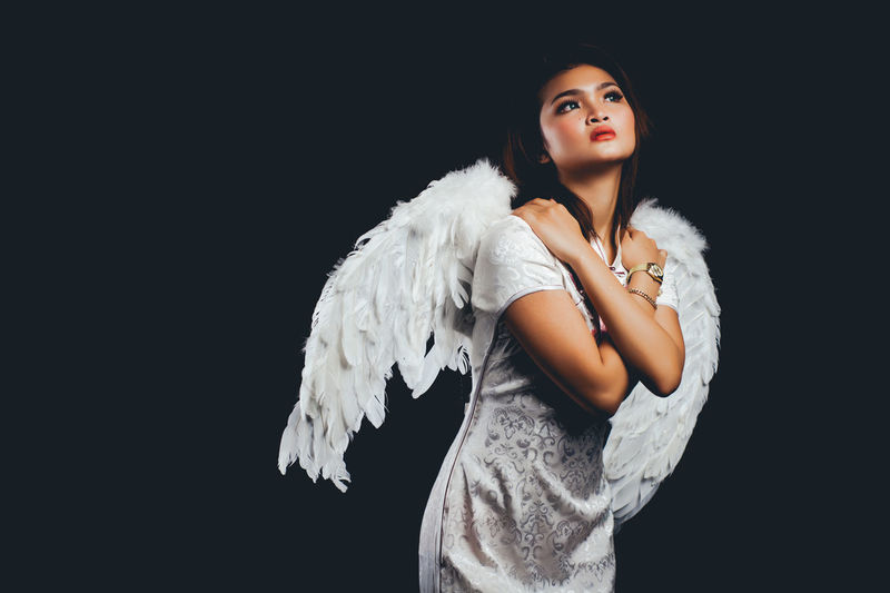 Adult Adults Only Angel Animal Wing Beautiful People Beautiful Woman Beauty Black Background Cute Elégance Feather  Heaven Looking At Camera One Person One Woman Only One Young Woman Only Only Women People Portrait Studio Shot Waist Up Young Adult The Portraitist - 2017 EyeEm Awards