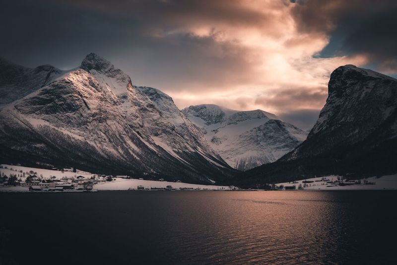 Norway Nature Winter Skiing Møre Og Romsdal Visit Norway Norway Mood Travel Fujifilm Tourism Photography Landscape EyeEm Selects Mountain Sky Beauty In Nature Scenics - Nature Water Snow Mountain Range Winter Nature Sunset Snowcapped Mountain Cold Temperature Cloud - Sky