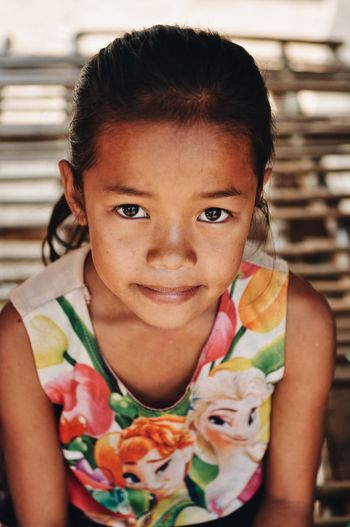 Kid Life Travel Backpack Photography Laos Portrait Child Childhood One Person Looking At Camera Front View Real People Girls Lifestyles Females Leisure Activity Headshot Smiling Innocence Women Day Close-up Human Face