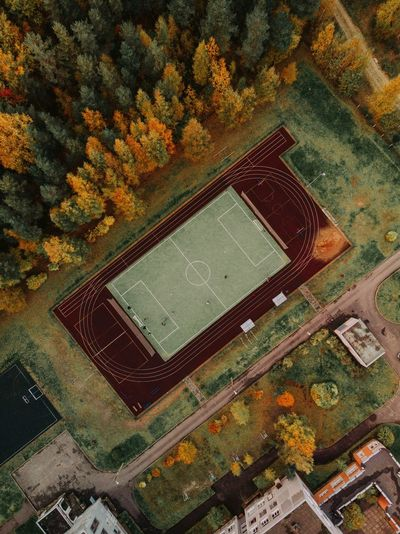 Drone view of soccer field by trees during autumn