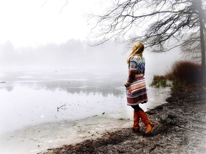Full Length Real People One Person Water Rear View Nature Leisure Activity Standing Lifestyles Beauty In Nature Day Outdoors Tree Sky Scenics People Cold Temperature Landscape #Nature #photography Winterwonderland Fog Foggy Mist Landscape Nature Wintertime