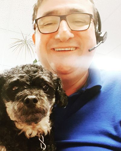 Headshot One Person Eyeglasses  Dog Pets One Animal Portrait Indoors  Close-up Happy Human, Tired Pooch At The Office Samsung Galaxy S7 Edge Self Potrait Selfıe Starting The Day Fun At Work Me And My Dog Pooch Dog At Work Poodle Work Looking At Camera Cheerful Indoors