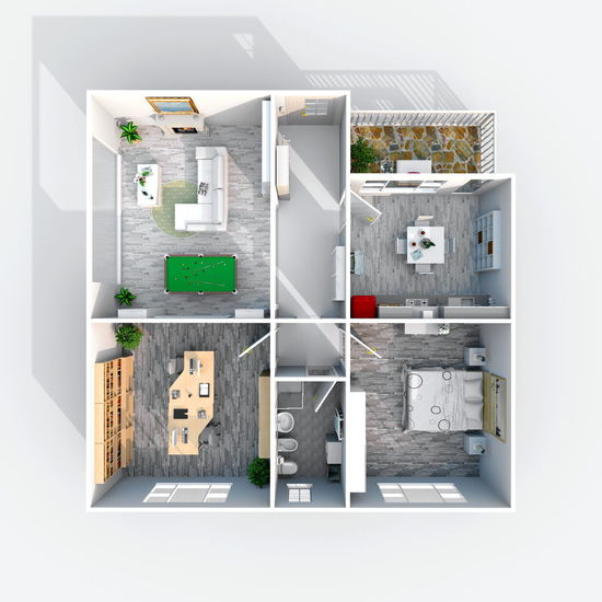 3d interior rendering of square furnished home apartment 3D Apartment Bathroom Bedroom Billiards Day Furniture Home House Indoors  Kitchen Living No People Pool Rendering Room Square
