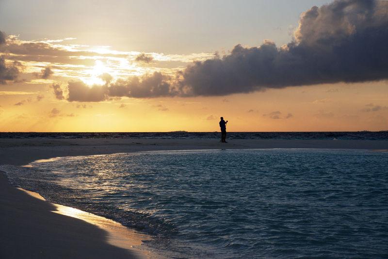 Beach Clouds Island Male Sky Strand Sunset
