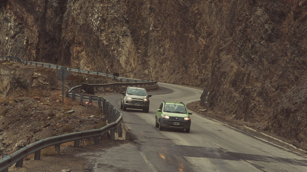 Argentina Cars Cold Days Follow Road Rocky Mountains Travel Destination Two Cars Ushuaïa